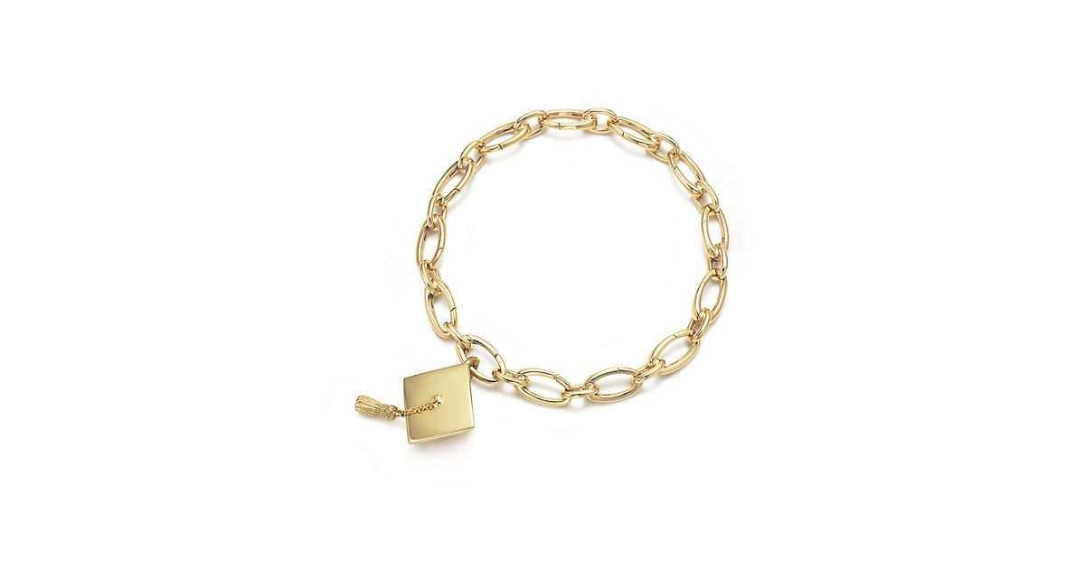 Graduation Cap Amp Tassel Charm 18k Gold On A Bracelet