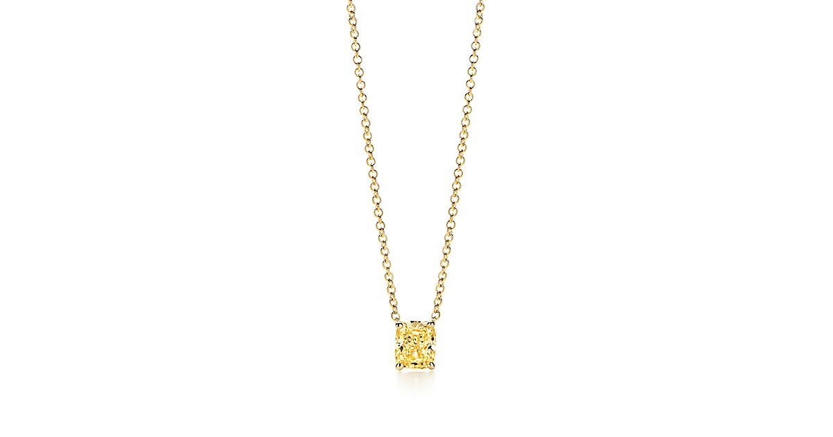 Pendant in 18k gold with a cushion cut tiffany yellow diamond pendant in 18k gold with a cushion cut tiffany yellow diamond tiffany co mozeypictures Image collections
