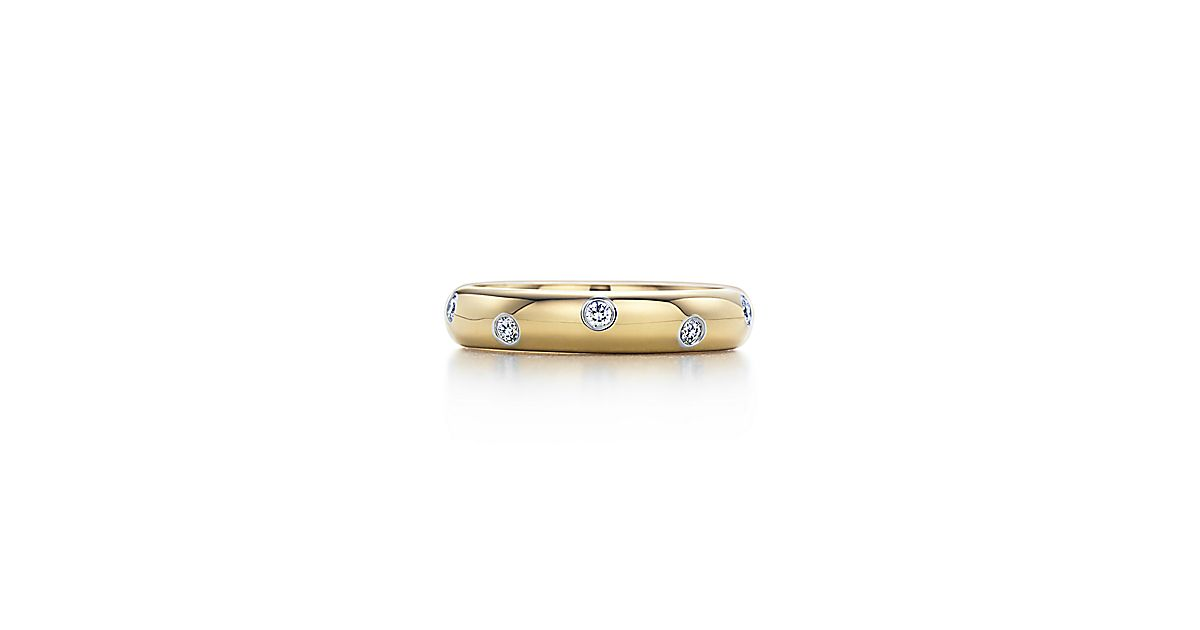 Etoile Band Ring In 18k Gold With Diamonds In Platinum 4