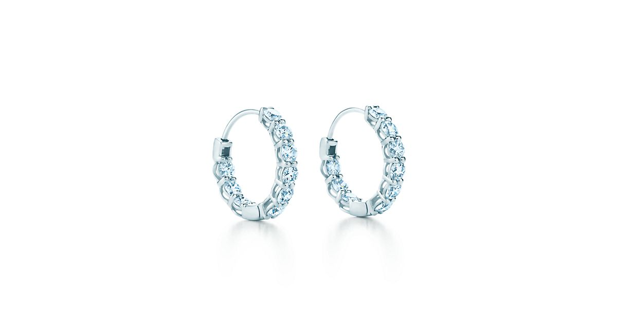 hoop earrings in platinum with diamonds small tiffany