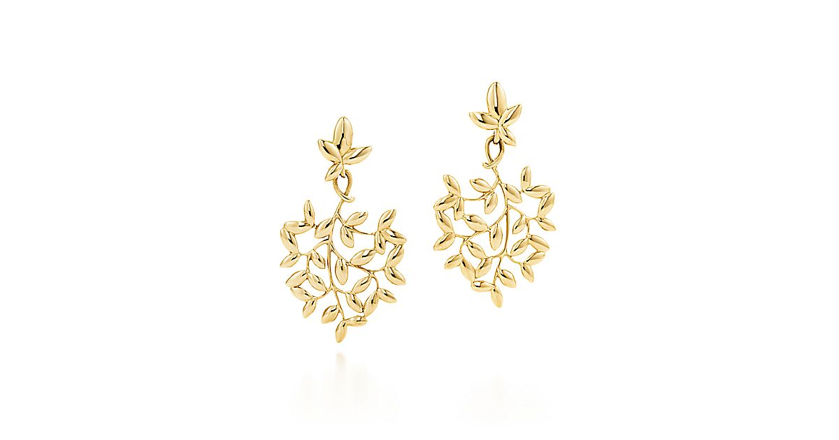 Paloma Picasso 174 Olive Leaf Drop Earrings In 18k Gold