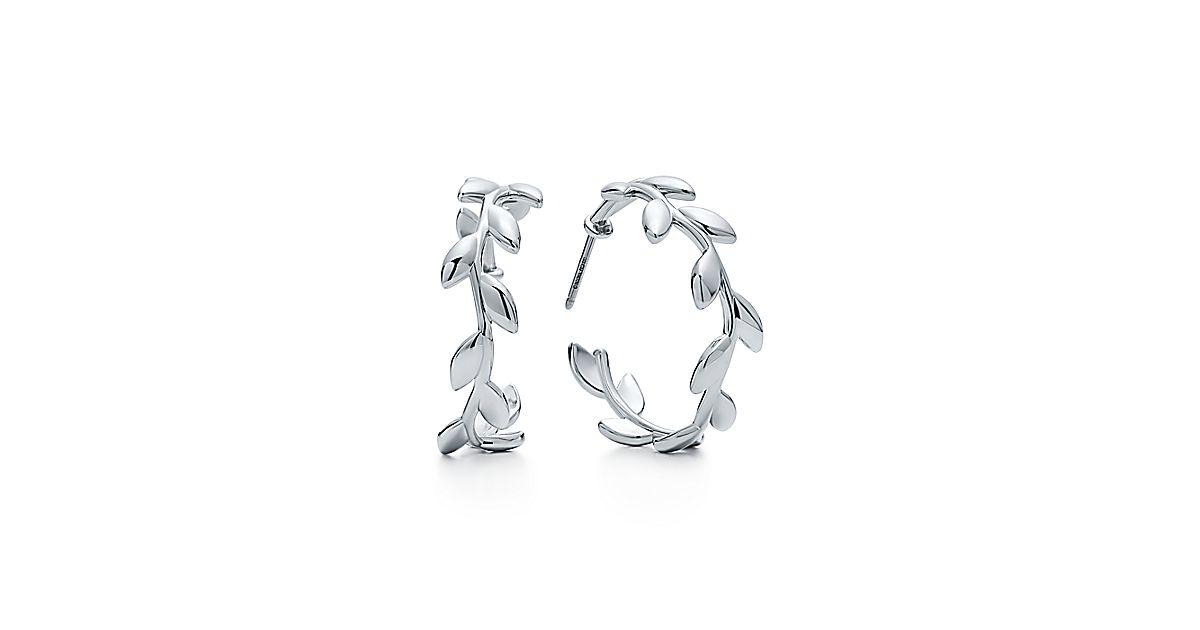 Paloma Picasso 174 Olive Leaf Hoop Earrings In Sterling