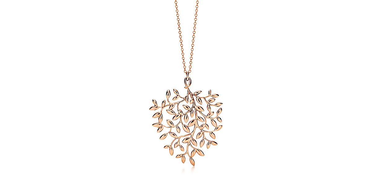 Paloma Picasso 174 Olive Leaf Pendant In 18k Rose Gold Large