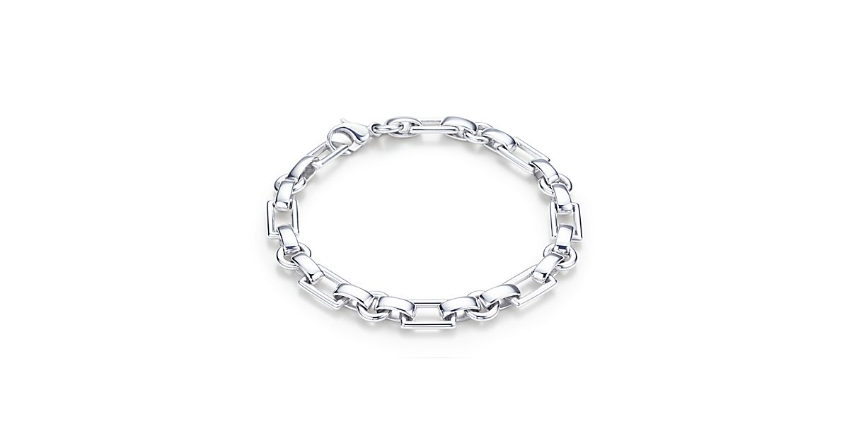 Rectangle Link Men S Bracelet In Sterling Silver
