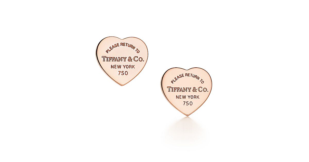return to tiffany mini heart tag earrings in 18k rose gold tiffany co. Black Bedroom Furniture Sets. Home Design Ideas