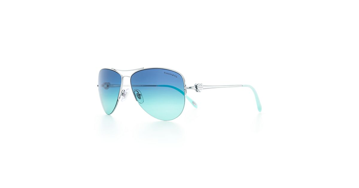34f21a6ca07 Return to Tiffany® Aviator sunglasses in silver-colored metal and acetate.