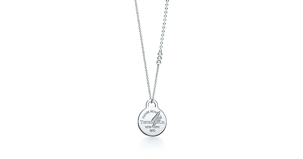 Return To Tiffany 174 Etched Lightning Bolt Pendant In Silver