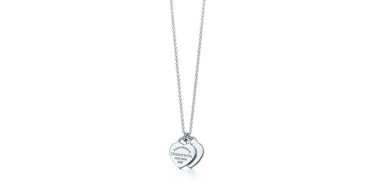 Return To Tiffany 174 Mini Double Heart Tag Pendant In