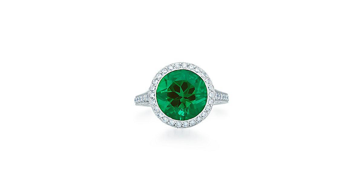 platinring mit rundem smaragd und diamanten tiffany co. Black Bedroom Furniture Sets. Home Design Ideas