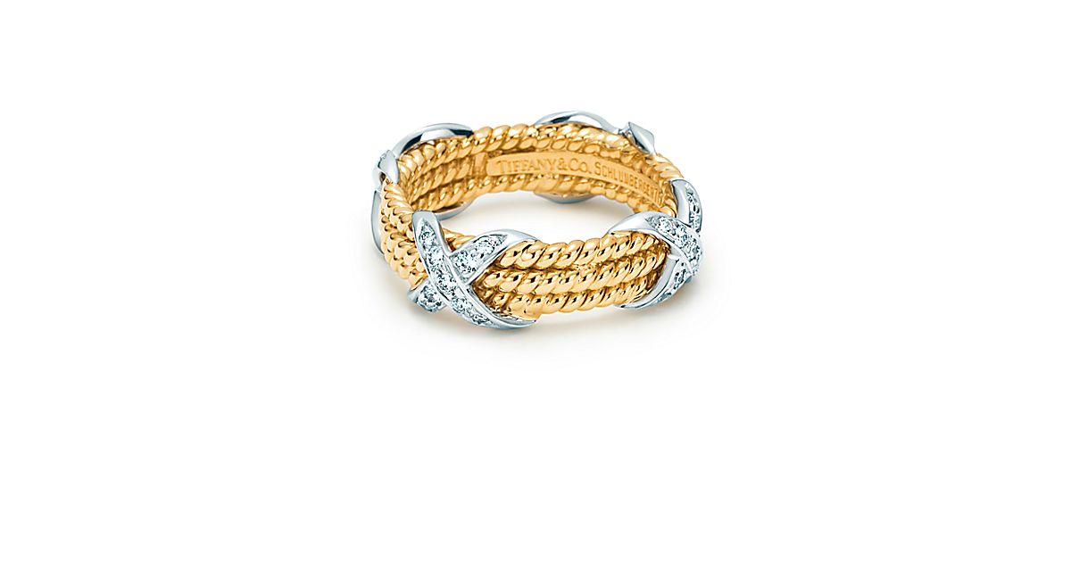 schlumberger rope dreireihiger ring aus 18 kt gold mit diamanten tiffany co. Black Bedroom Furniture Sets. Home Design Ideas