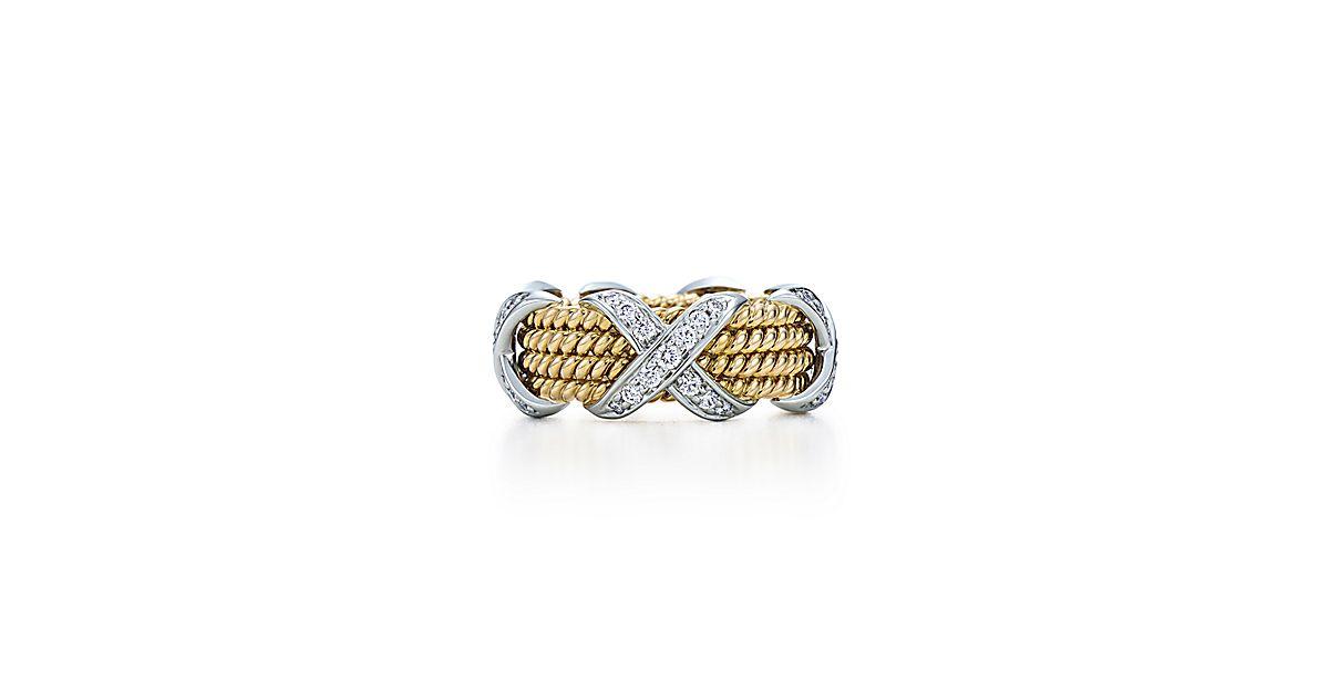 schlumberger rope vierreihiger kreuzring aus 18 kt gold mit diamanten tiffany co. Black Bedroom Furniture Sets. Home Design Ideas