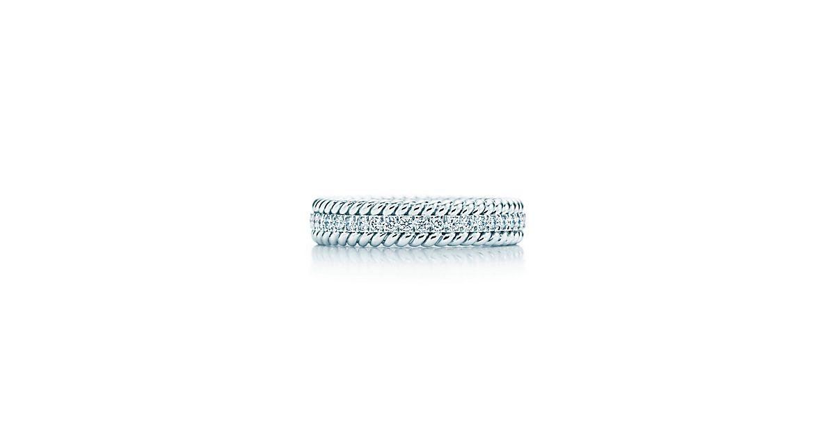 schlumberger rope zweireihiger platinring mit diamanten tiffany co. Black Bedroom Furniture Sets. Home Design Ideas
