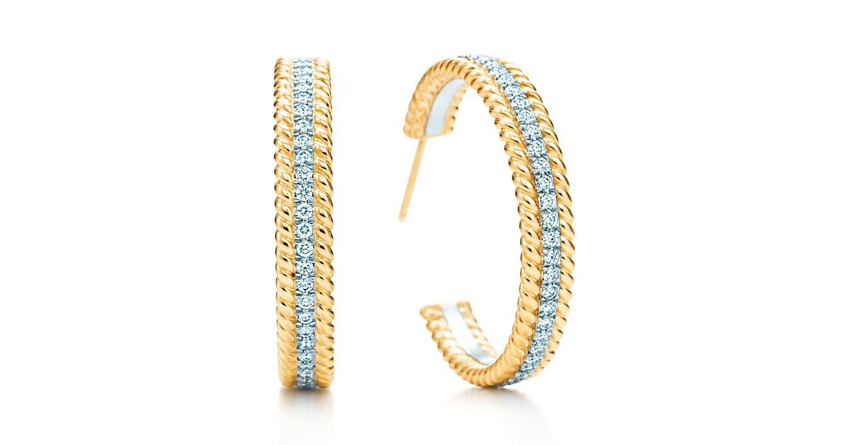 Medium 18K Gold Two Row Rope Hoop Earrings