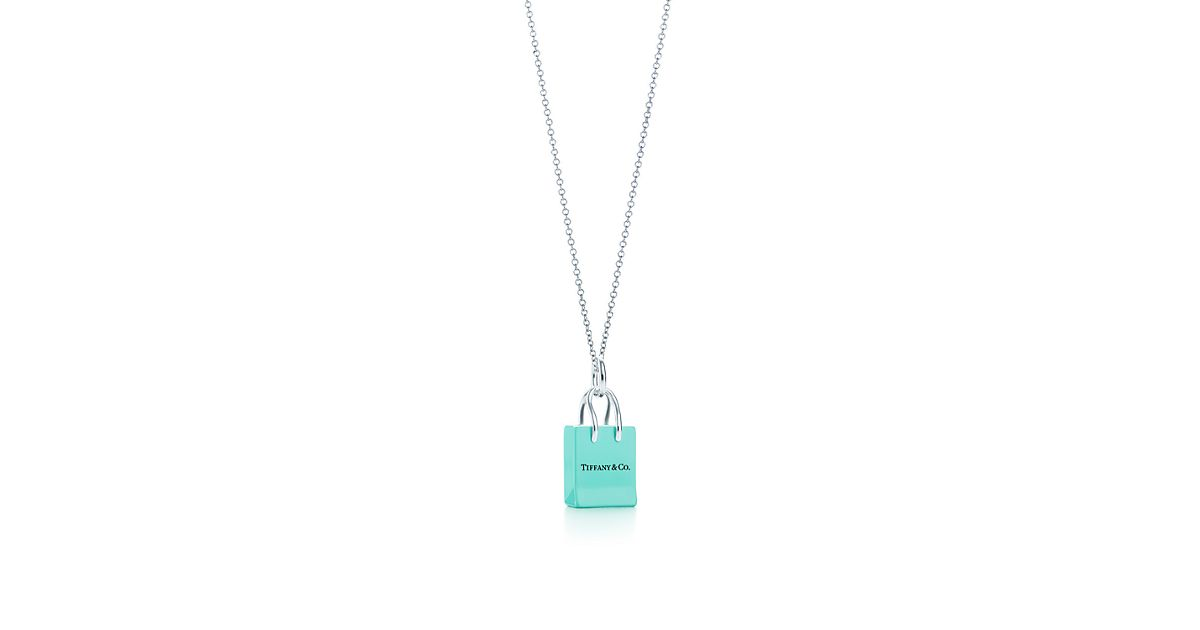 Tiffany & Co.® Shopping Bag charm with enamel finish in silver on ...