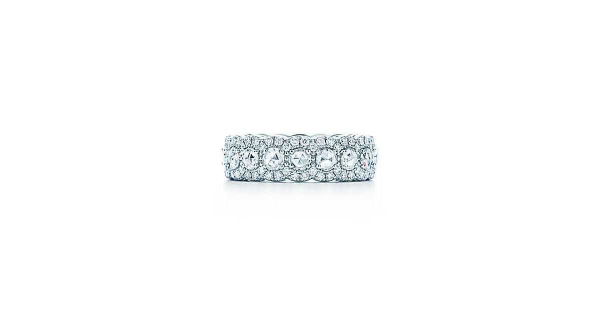 Tiffany Cobblestone Band Ring In Platinum With Diamonds