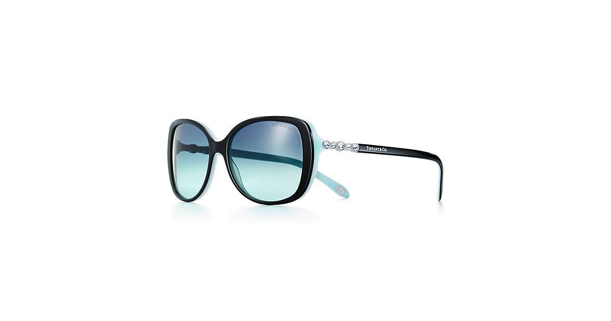 Tiffany Cobblestone Rectangular Sunglasses In Black And