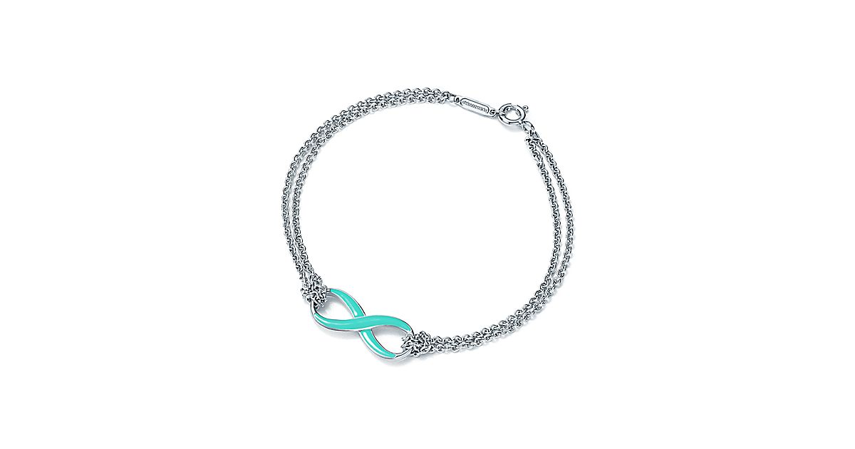 Sterling Silver Infinity Symbol Bracelet In Tiffany Blue