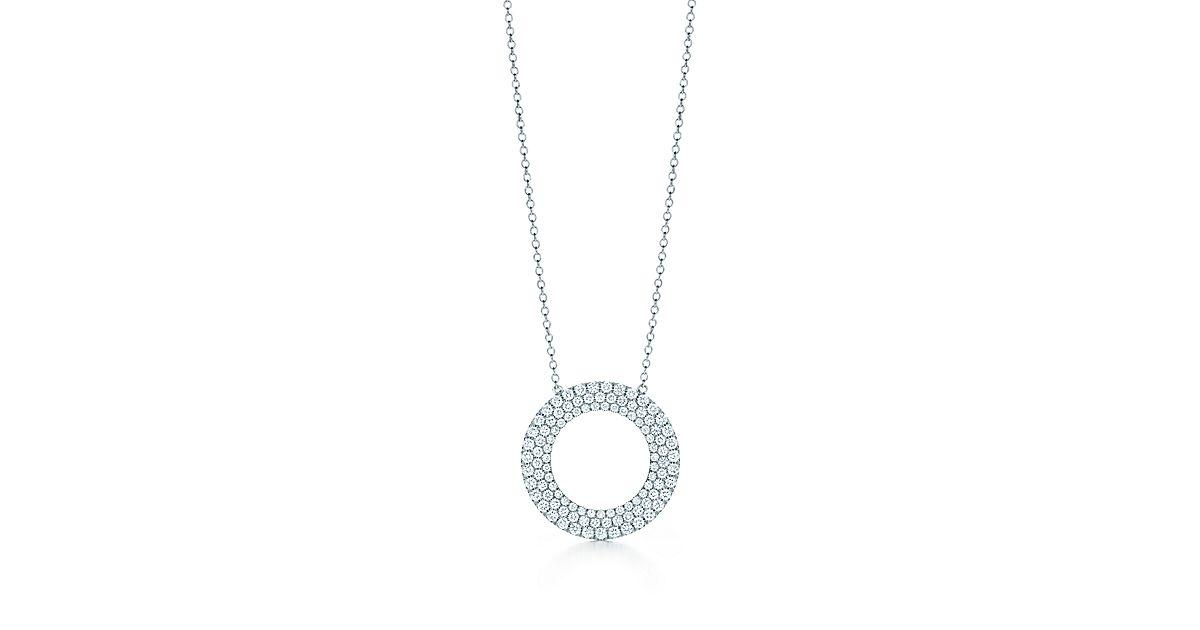 Tiffany Metro Three Row Circle Pendant In 18k White Gold