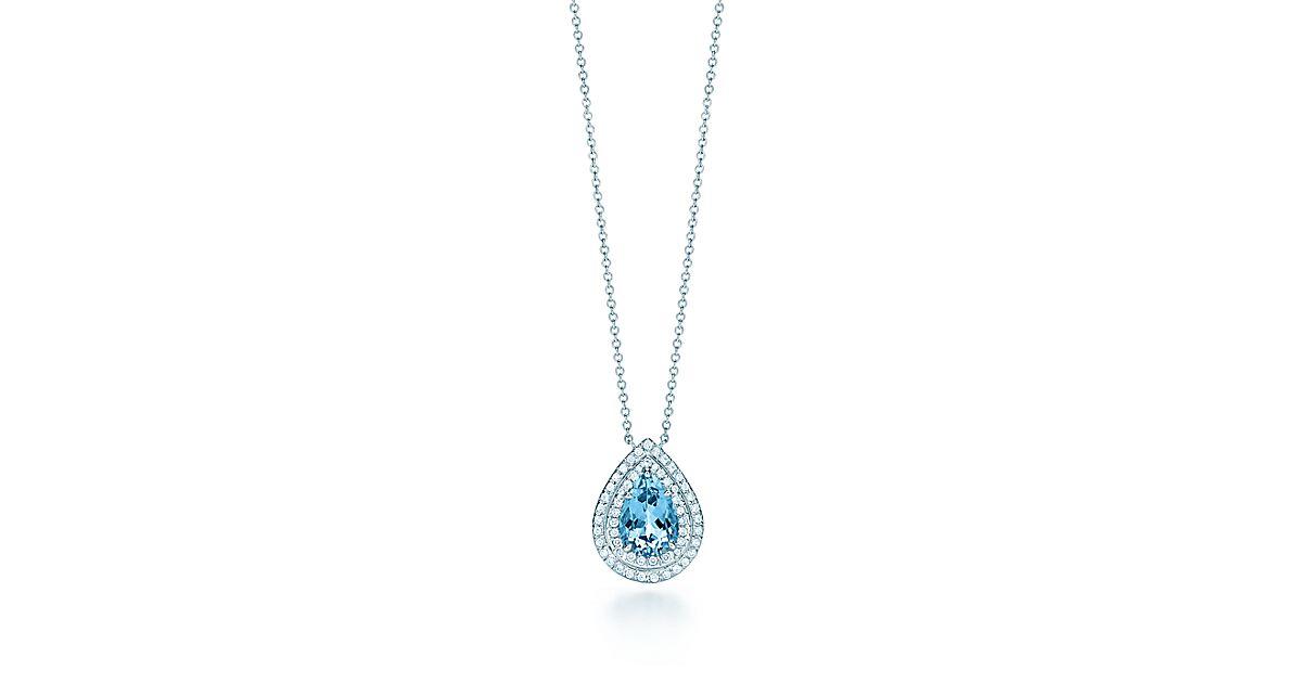 Tiffany Soleste 174 Pendant In Platinum With An Aquamarine