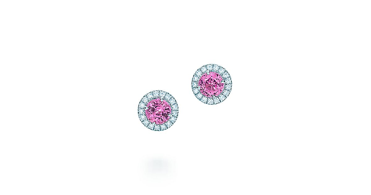 Tiffany Soleste 174 Earrings In Platinum With Pink Sapphires