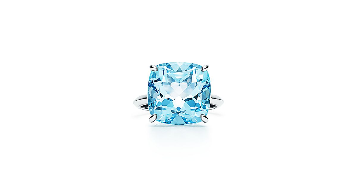 Tiffany Sparklers Ring In 18k White Gold With A Blue Topaz