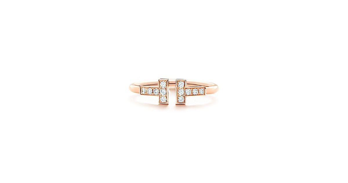 tiffany t wire ring in 18 karat ros gold mit diamanten. Black Bedroom Furniture Sets. Home Design Ideas