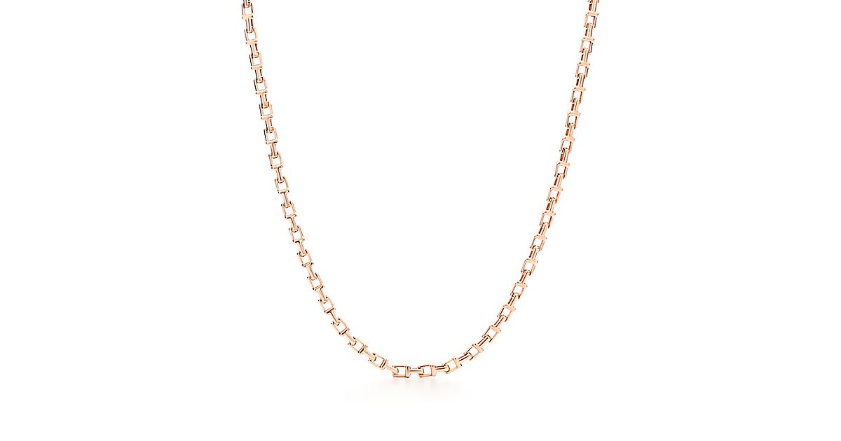 Tiffany T Narrow Chain Necklace In 18k Rose Gold