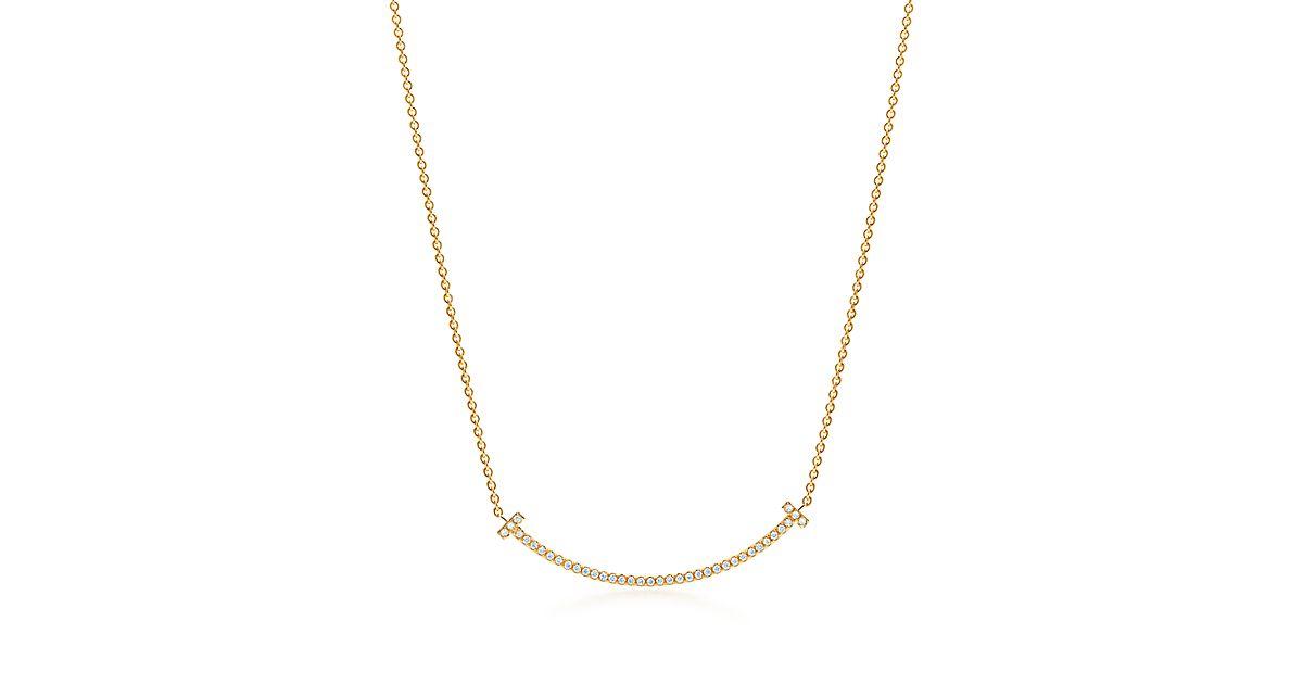 Tiffany T Smile Pendant In 18k Gold With Diamonds Mini