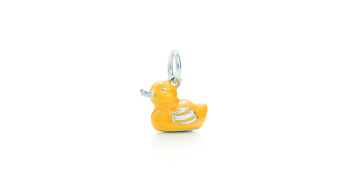 Yellow Duck Charm In Sterling Silver With Yellow Enamel