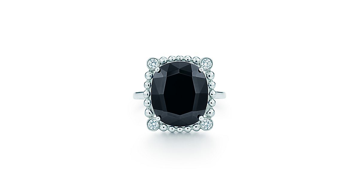 Ziegfeld Collection Ring In Sterling Silver With Black