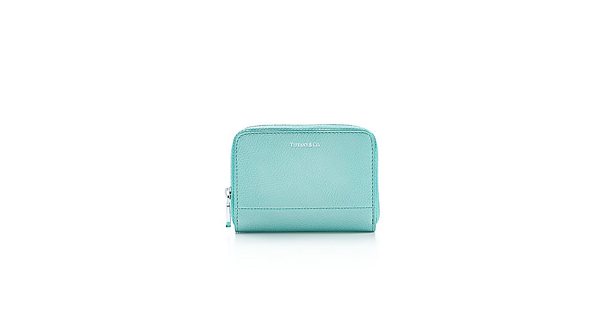 Zip card case in light teal textured leather more colours for Tiffany business card case