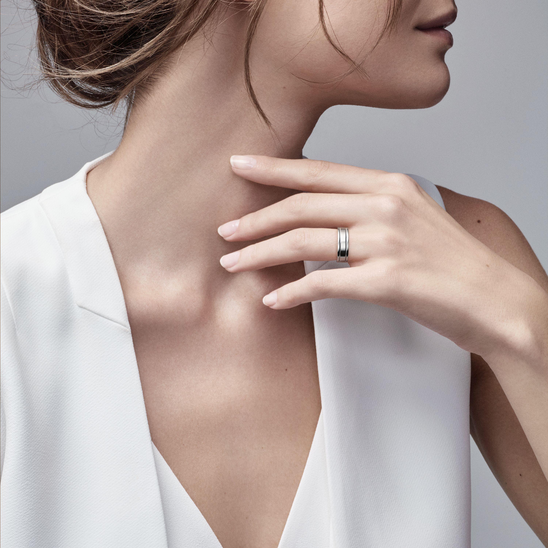 Tiffany Flat double milgrain wedding band ring in platinum 6 mm
