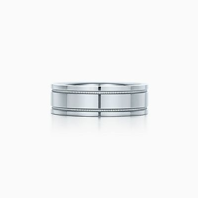 tiffany flat double milgrain wedding band ring in platinum 6 mm wide - Flat Wedding Rings