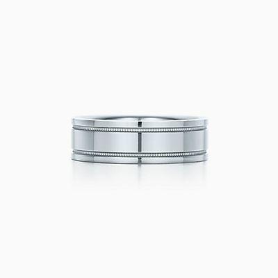 tiffany flat double milgrain wedding band ring in platinum 6 mm wide - Tiffany Wedding Ring