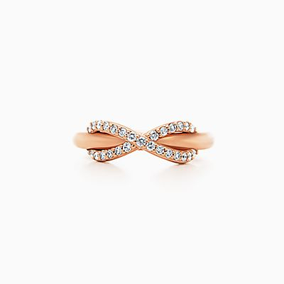 Tiffany Infinity Ring In 18k Rose Gold With Diamonds