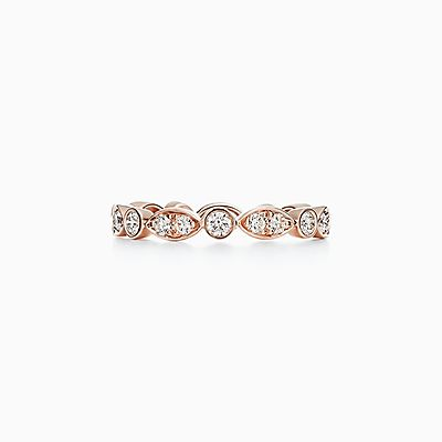 Wedding rings wedding bands tiffany co tiffany jazz band ring in 18k rose gold with diamonds junglespirit Image collections