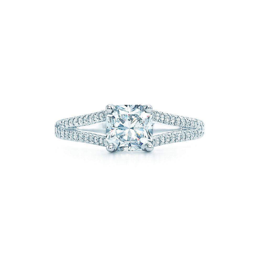 lucida with diamond band engagement rings tiffany co - Wedding Rings Tiffany
