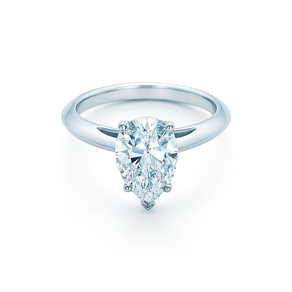 Pear shaped diamond rings tiffany for Wedding band for teardrop engagement ring