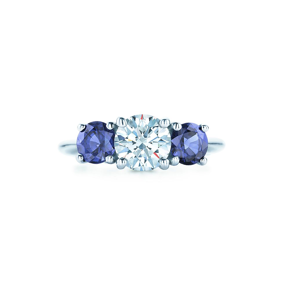 Three Stone With Sapphire Side Stones Engagement Rings