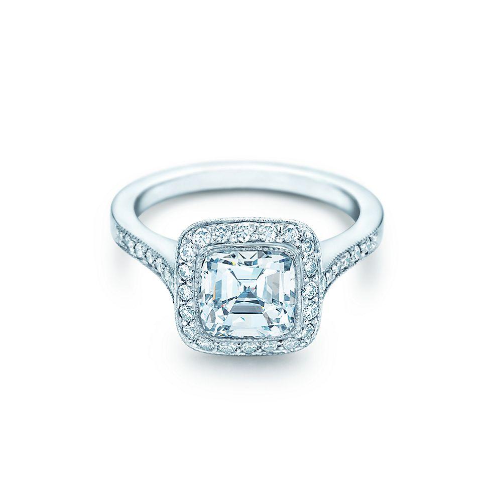 Cushion cut solitaire diamond engagement rings