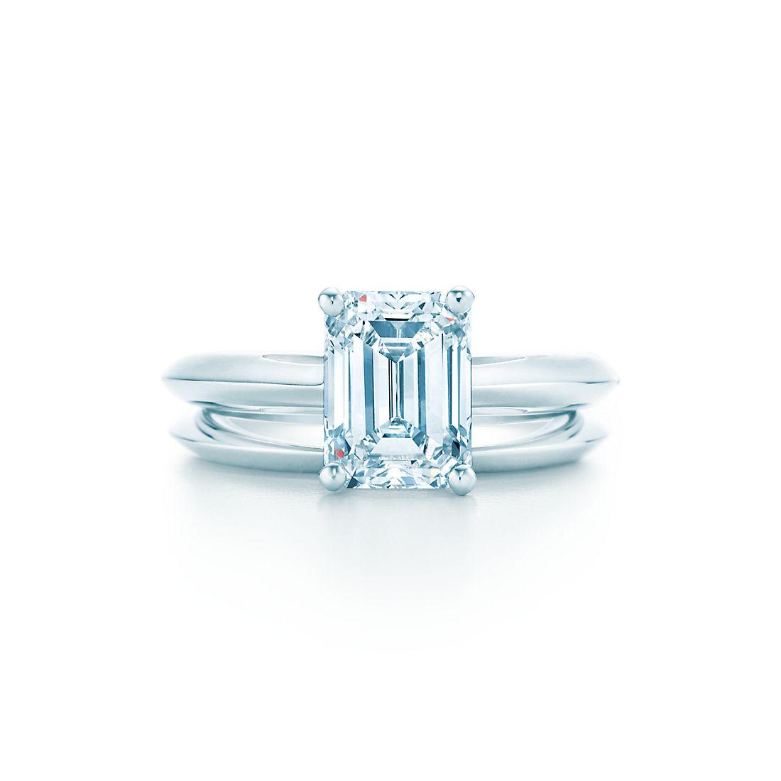 Wedding ring emerald cut