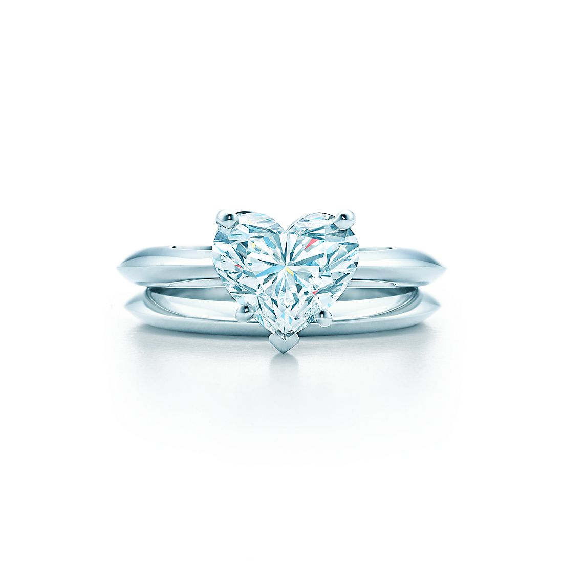 200 ct shown with tiffany wedding band - Heart Shaped Diamond Wedding Ring