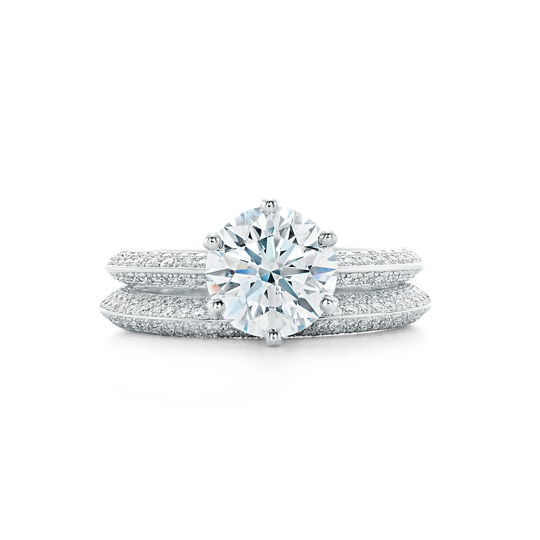 200 ct shown with tiffany setting band ring - Tiffanys Wedding Rings