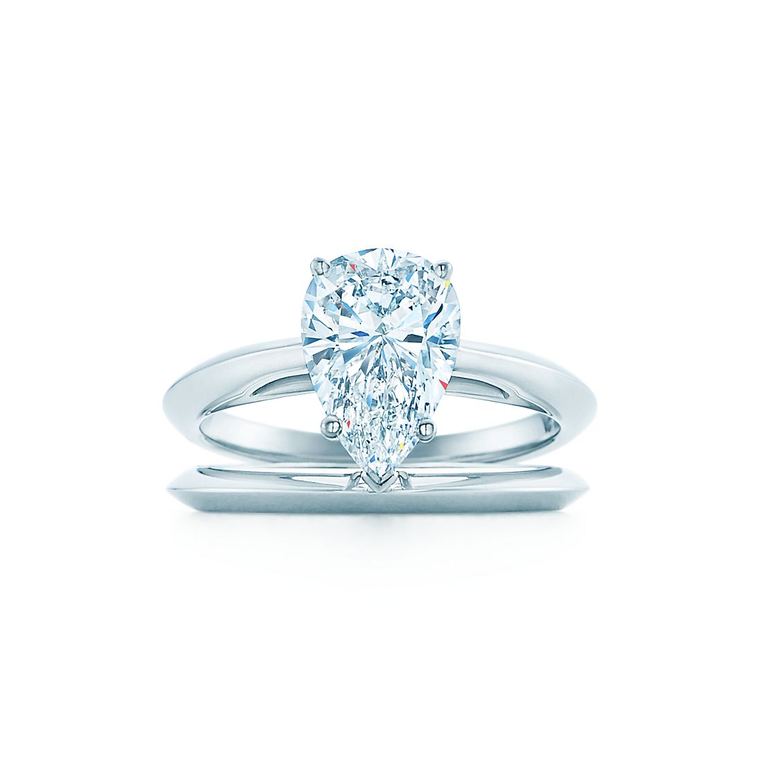 200 ct shown with tiffany wedding band - Pear Shaped Wedding Ring