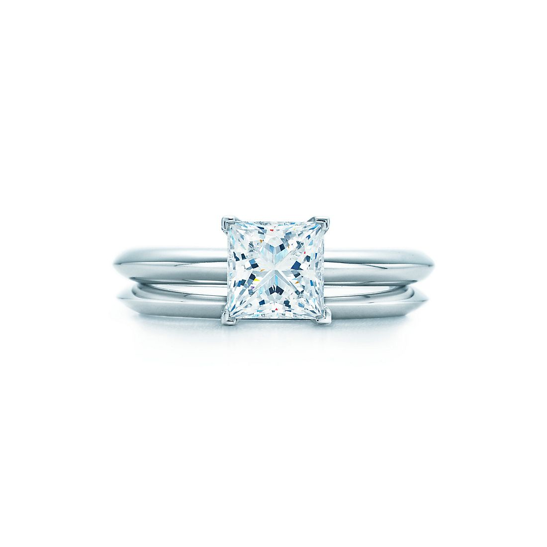 12 ct shown with tiffany wedding band - Princess Wedding Rings