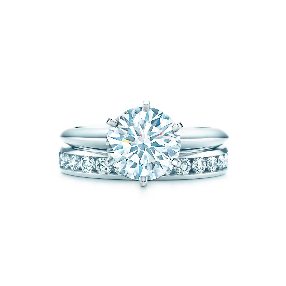 21 ct shown with tiffany diamond wedding band - Wedding Engagement Rings