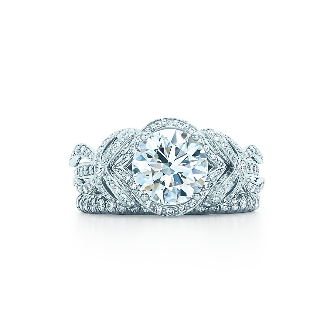 Tiffany bow ribbon ring engagement rings tiffany co 198 ct shown with tiffany soleste band ring junglespirit Image collections