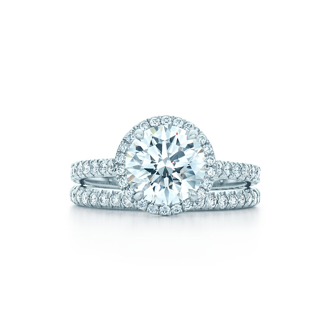 Tiffany soleste round engagement rings tiffany co 197 ct shown with tiffany soleste band ring junglespirit Choice Image