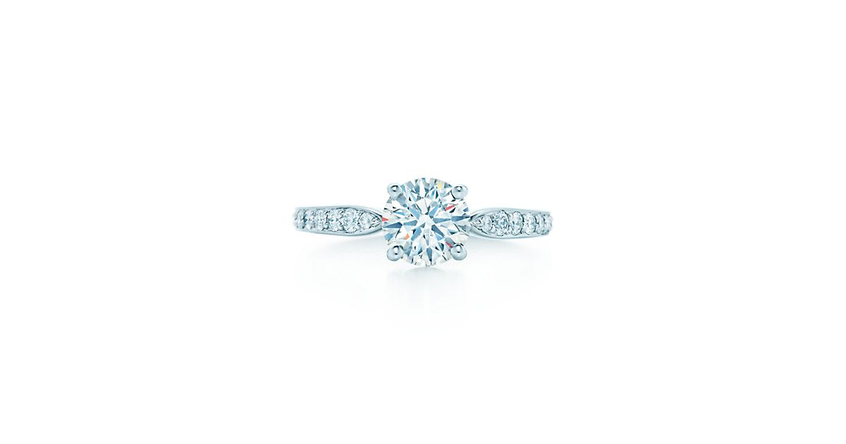 tiffany harmony with bead set band engagement rings tiffany co