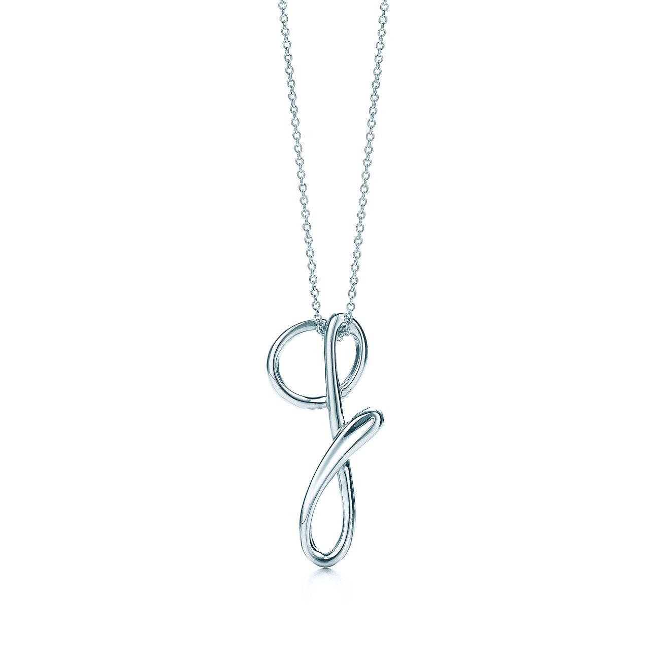 Elsa Peretti letter A pendant in sterling silver, small - Size A Tiffany & Co.